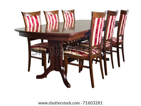 Dining room table and chairs isolated on white - stock photo