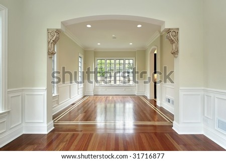 Dining room view from living room - stock photo