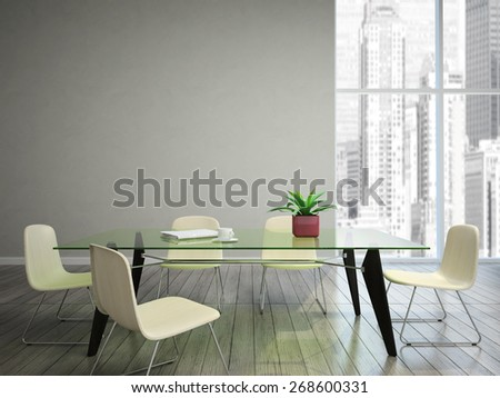 dining room wish tabel and chairs 3D rendering - stock photo