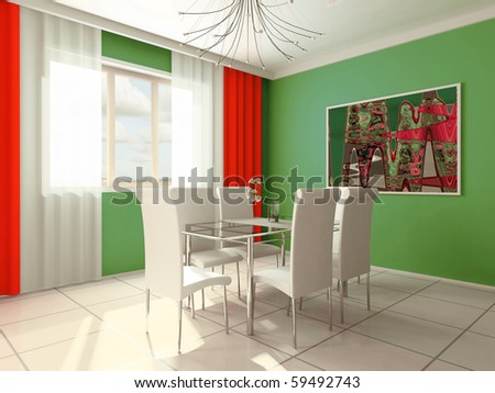 Dining room with a window 3d image - stock photo