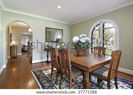 Dining room with arch