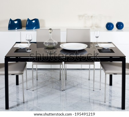 dining room with designer furniture - stock photo
