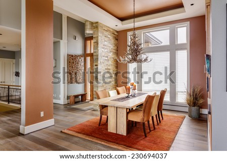 Dining Room With Entryway Table Elegant Light Fixture