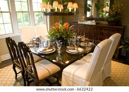 Dining room with festive decor.
