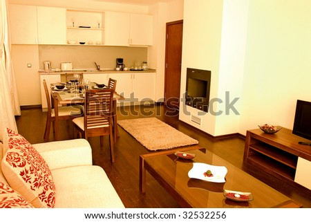 Dining room with living room parts. - stock photo