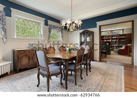 Dining room with view into family area