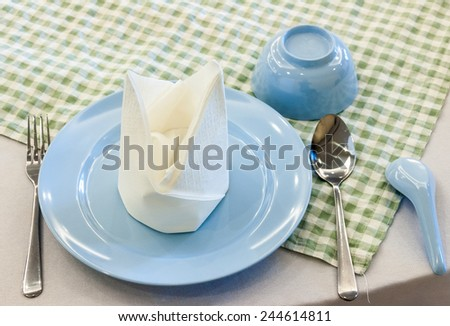 Dining set for customer in the restaurant. - stock photo