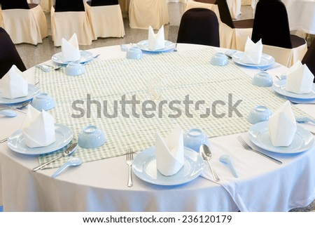 Dining set on the table of Thai restaurant. - stock photo