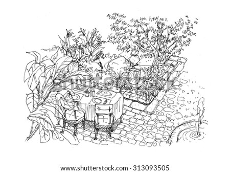 dining setting in the garden scene hand drawing illustration