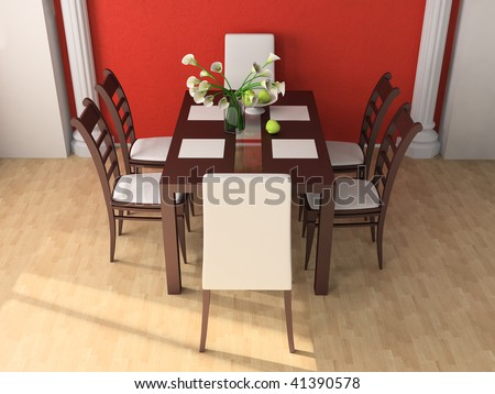 Dining Table Against A Wall 3d Image Part 51