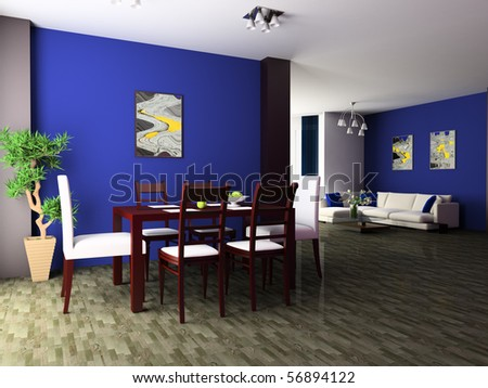 Dining table against a wall 3d image - stock photo