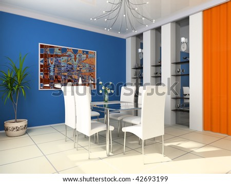 Dining table against a wall with a picture 3d image - stock photo