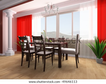 Dining table against a window 3d image - stock photo