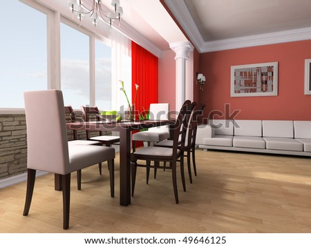 Dining table against a window 3d image