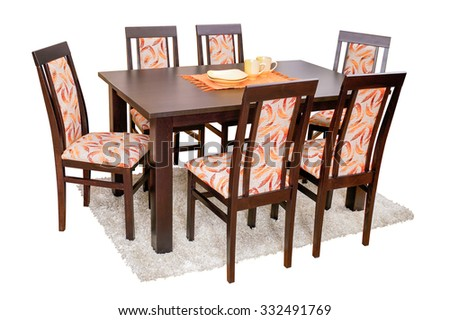 Dining table and chairs isolated on white with clipping path