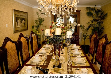 Dining table in a dining room