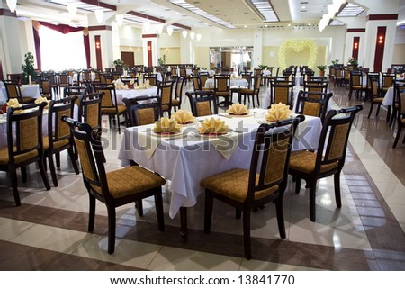 Dining table in a restaurant - stock photo