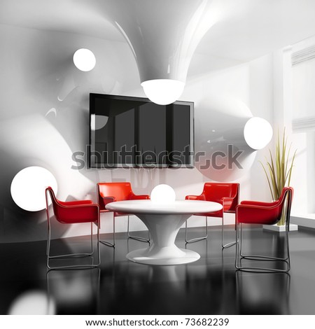 dining table in modern cafe 3d image - stock photo