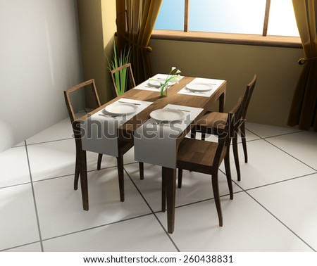 dining table in modern cafe ,3d rendering