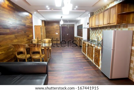 Dining table in the hallway at a modern house And interior - stock photo