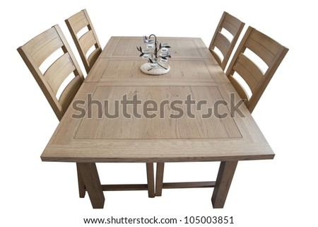 Dining table isolated on white - stock photo