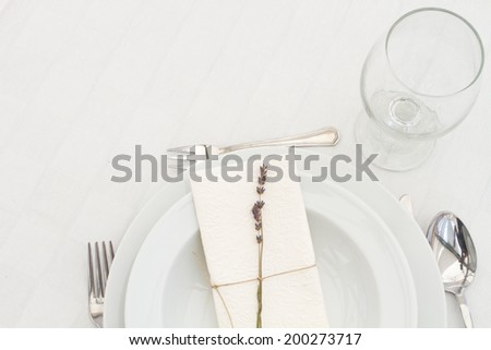 dining table setting with lavender - top view