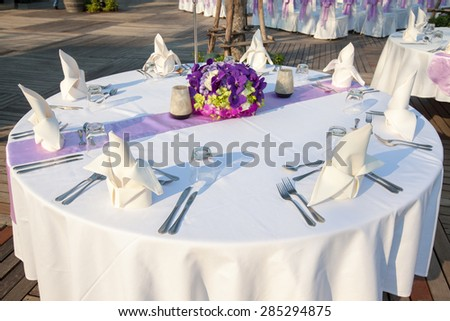 Dining table wedding - stock photo