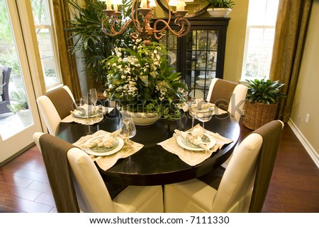 Dining table with luxury decor.