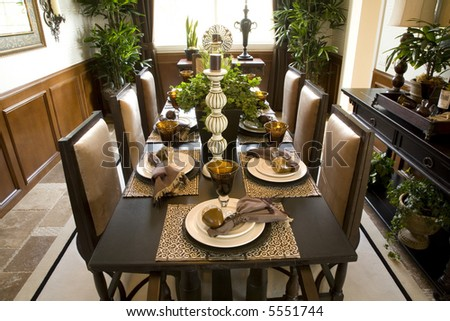 dining table with modern decor - stock photo