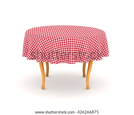 Dining table with tablecloth. 3d illustration isolated on white background - stock photo