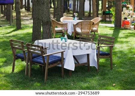 dining terrace in wooded forest outdoor