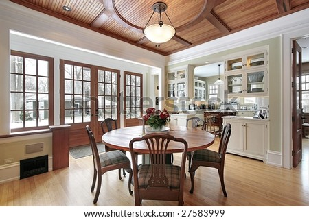 Dining wood with wood trim doors