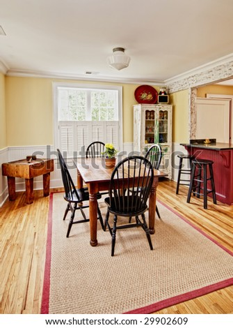 diningroom in modern/antique eclectic style - stock photo
