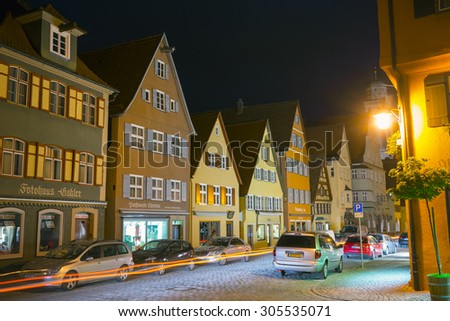 Dinkelsbuhl, Germany - July 27, 2015: Dinkelsbuhl is one of the archetypal towns on the German Romantic Road.