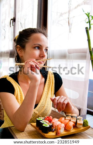Dinner Chopsticks Japanese Cuisine  - stock photo