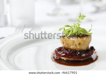 Dinner entree in a gourmet restaurant with sprouts and brown sauce. Horizontal shot. - stock photo