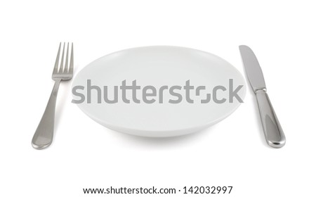 Dinner is served composition: table knife, fork next to the ceramic empty copyspace plate dish isolated over white background