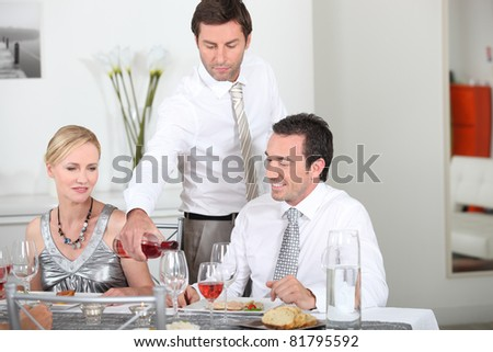 dinner party with friends - stock photo