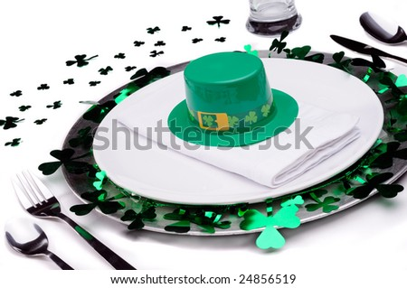 Dinner Place Setting For A St Patrick's Day Party - stock photo
