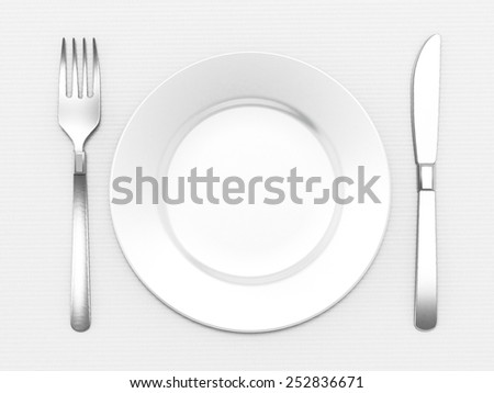 Dinner plate, fork and knife isolated on white background - stock photo