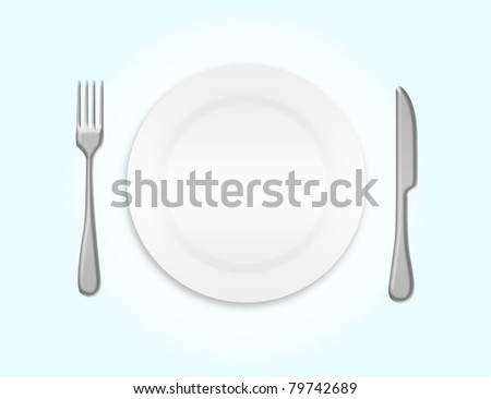 dinner plate, knife and fork over blue and white background