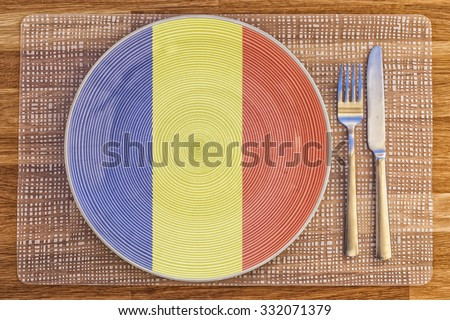 Dinner plate with the flag of Romania on it for your international food and drink concepts.