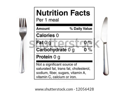 Dinner setting with 0 calories nutrition label instead of a plate. Concept for dieting, nutrition, anorexia. - stock photo