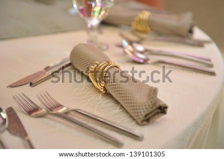 dinner table setting - stock photo