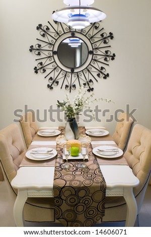 Dinner table setting in a new house. - stock photo