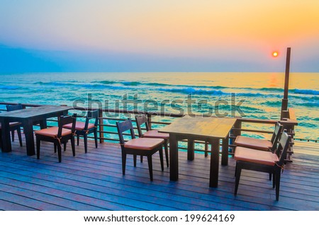 Dinner table twilight times - stock photo