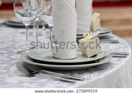 Dinner wedding table setting - stock photo