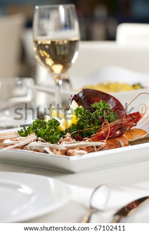 Dinner with lobster - stock photo