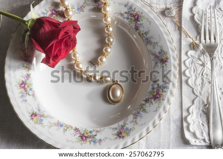 dinner with love,  the woman's happiness,romantic dinner waiting for a woman of class with red roses - stock photo