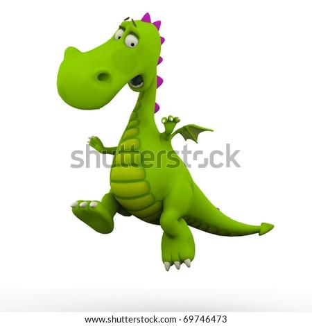 dino baby dragon jumping - stock photo
